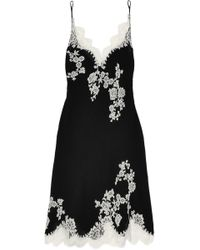 Carine Gilson | Lace-trimmed Silk-georgette Chemise | Lyst