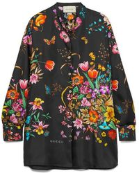 Gucci Flora Silk Shirt - Black