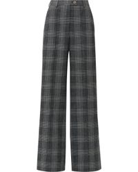 Acne Studios - Checked Wool And Cotton-blend Wide-leg Pants - Lyst