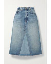 Khaite Maggie Distressed Denim Skirt - Blue