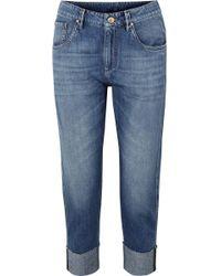 Brunello Cucinelli - Bead-embellished Cropped Slim Boyfriend Jeans - Lyst