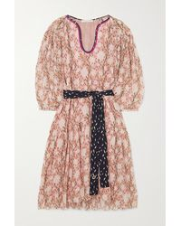 Chloé Belted Floral-print Cotton And Silk-blend Chiffon Dress - Pink