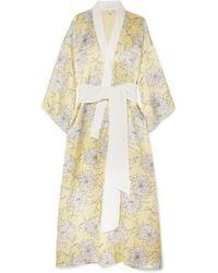Olivia Von Halle - Queenie Printed Silk-satin Robe - Lyst