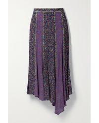 Veronica Beard Pascoe Asymmetric Floral-print Crepe De Chine Midi Skirt - Purple
