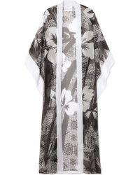 Marie France Van Damme - Printed Silk-chiffon Kimono - Lyst