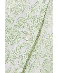 Hannah Artwear + Net Sustain Ischia Belted Floral-print Linen Mini Dress - Green