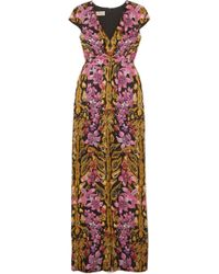 Temperley London - Bow-embellished Printed Hammered-silk Gown - Lyst