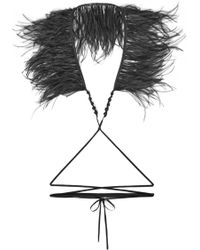 Ann Demeulemeester - Cotton, Bead And Feather Necklace - Lyst