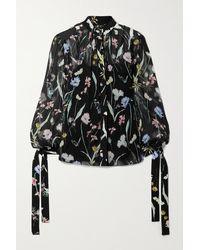 Jason Wu Floral-print Silk-crepon Blouse - Black