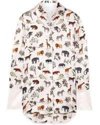 Victoria, Victoria Beckham - Printed Silk-satin Shirt - Lyst
