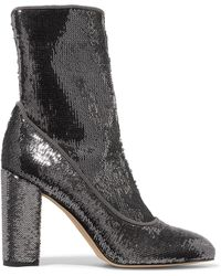Sam Edelman - Calexa Sequined Stretch-twill Sock Boots - Lyst