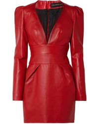 Alexandre Vauthier - V-neck Puff-shoulder Long-sleeve Napa Leather Mini Dress - Lyst