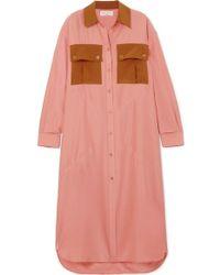 Sonia Rykiel Oversized Color-block Silk-satin Dress - Pink
