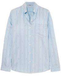 Prada - Striped Silk-satin Shirt - Lyst