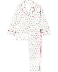 Sleepy Jones Marina Pyjama Aus Bedruckter Baumwollpopeline - Weiß