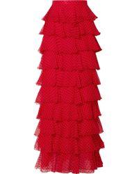 Rodarte - Tiered Polka-dot Flocked Silk-chiffon Maxi Skirt - Lyst