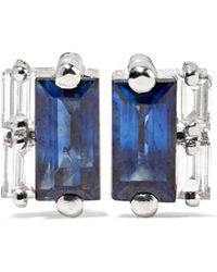 Suzanne Kalan - 18-karat White Gold, Sapphire And Diamond Earrings - Lyst