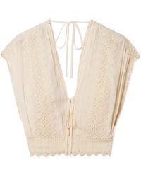 Philosophy Di Lorenzo Serafini - Cropped Crochet-trimmed Georgette Top - Lyst