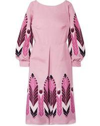 Valentino Midikleid Aus Bedrucktem Seiden-twill Mit Falte - Pink