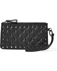 Valentino - Garavani The Rockstud Quilted Cracked-leather Pouch - Lyst
