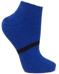 Maria La Rosa Striped Ribbed Cashmere Socks - Blue