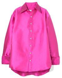 Matthew Adams Dolan Oversized Satin Shirt - Pink