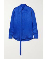 Christopher John Rogers Satin Shirt - Blue