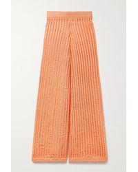 Solid & Striped The Leila Open-knit Wide-leg Pants - Orange