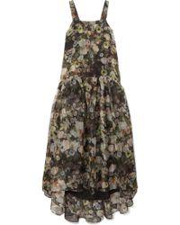 Adam Lippes - Tiered Floral-print Silk-organza Maxi Dress - Lyst