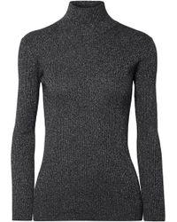 Prada | Metallic Ribbed Wool-blend Turtleneck Jumper | Lyst