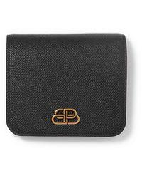 Balenciaga Bb Compact Portemonnaie Aus Strukturiertem Leder Mit Verzierung - Schwarz