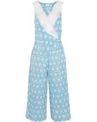 Miguelina - Rafaella Lace-trimmed Broderie Anglaise Gingham Cotton Jumpsuit - Lyst