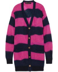 Versace   Oversized Striped Textured-knit Cardigan   Lyst