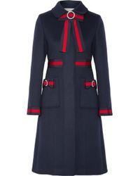 Gucci - Embellished Grosgrain-trimmed Wool Coat - Lyst
