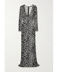 Tom Ford Twist-front Leopard-print Jersey Maxi Dress - Black