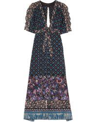 Anna Sui Printed Silk-chiffon Robe - Blue