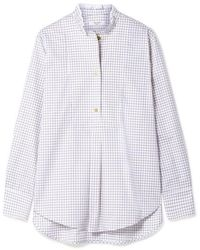 Atlantique Ascoli Ruffled Checked Cotton-twill Shirt - White