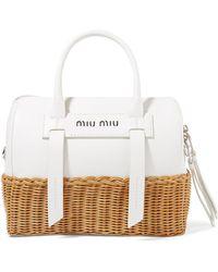 Miu Miu Off Quilted Patent Leather Satchel Bag in White - Lyst 74c7c44c26