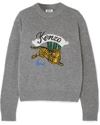 KENZO - Embroidered Intarsia Wool Jumper - Lyst