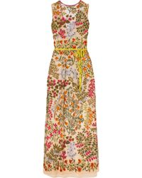 RED Valentino - Embroidered Tulle Maxi Dress - Lyst