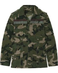 Valentino - Striped Camouflage-print Cotton-gabardine Jacket - Lyst