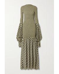 Petar Petrov Alodie Shirred Striped Silk Maxi Dress - White