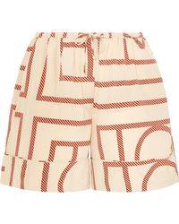Totême  - Lansallos Printed Silk-satin Shorts - Lyst
