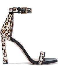 Stuart Weitzman - Squarenudist Leather-trimmed Leopard-print Calf Hair Sandals - Lyst