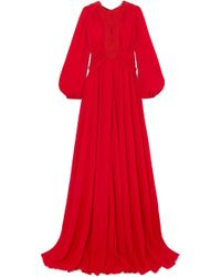 Giambattista Valli - Guipure Lace-trimmed Gathered Crepe De Chine Gown Red It38 - Lyst