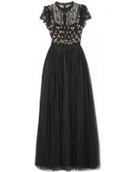 Needle & Thread - Rococo Bestickte Robe Aus Point D'esprit Mit Pailletten - Lyst