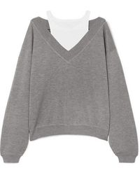 T By Alexander Wang Cropped Layered Wool And Stretch-cotton Jersey Sweater - Gray