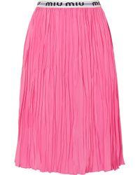 Miu Miu - Pleated Midi Skirt - Lyst