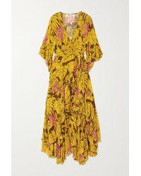 Diane von Furstenberg Jean Ruffled Floral-print Crepon Wrap Dress - Yellow