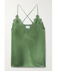 Cami NYC The Everly Lace-trimmed Silk-charmeuse Camisole - Green